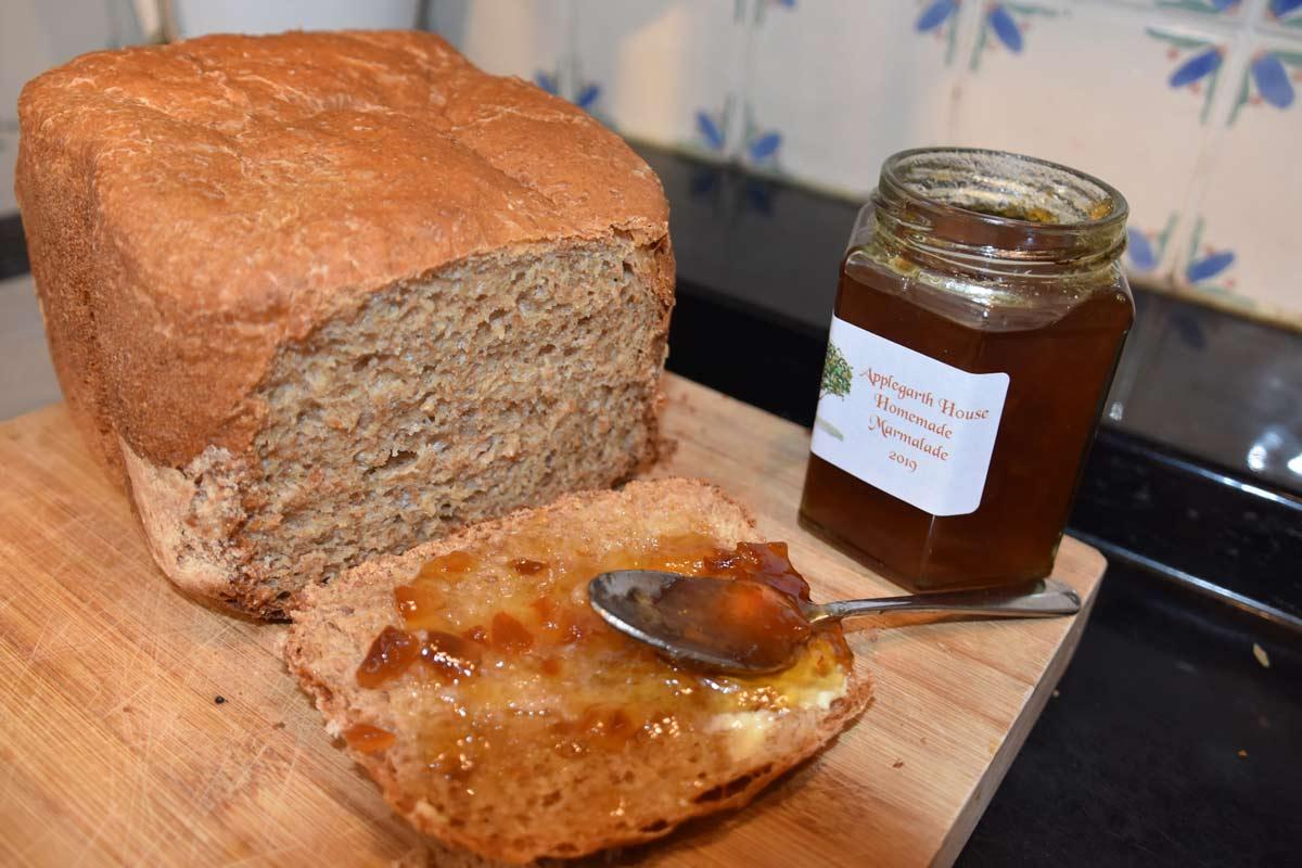 Homemade bread and marmalade